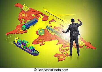 概念, ビジネスマン, 世界的である, ロジスティクス