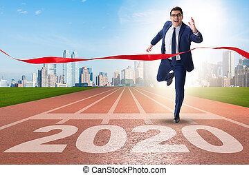 概念, ビジネスマン, 2020, 年, 新しい