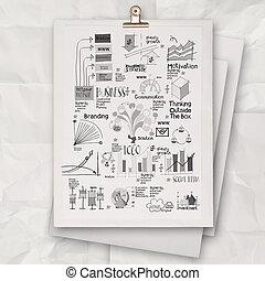 概念, ビジネス戦略, 本, 背景, 引かれる, 白, 手