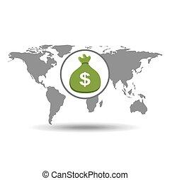 概念, ビジネス, お金, 世界的である, 袋, アイコン