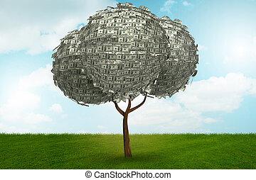概念, ビジネス, お金, -, 木, レンダリング, 3d