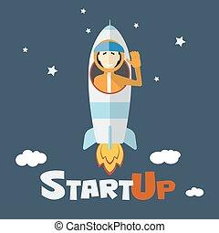 概念, ビジネス, の上, 始めなさい, ベクトル, 新しい
