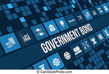 概念, ビジネス アイコン, copyspace., イメージ, 政府, 債券