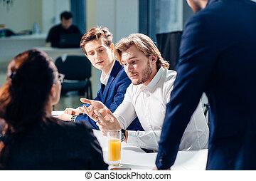 概念, ビジネス, オフィス。, コーチ, 上司, 仕事, training., 教育, リーダー