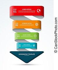 概念, ビジネス, オプション, 部分, infographic, 4, 矢, ステップ, template.