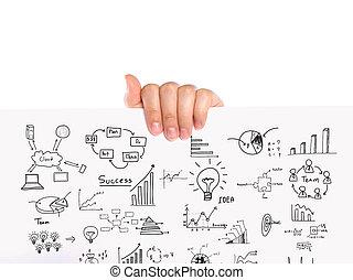 概念, ビジネス, グラフ, 手, ペーパー, 白, 把握, 図画