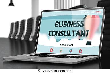 概念, ビジネス, コンサルタント, ラップトップ, screen., 3d.