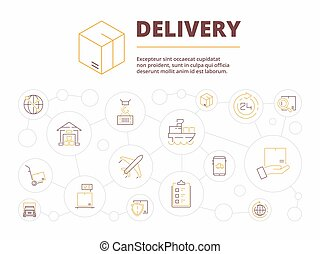 概念, ビジネス, サービス, パッケージ, 項目, イラスト, 出産, バックグラウンド。, ベクトル, ロジスティックである, 倉庫, 輸送