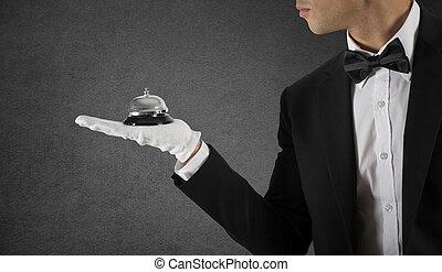 概念, ビジネス, サービス 鐘, ウエーター, 手。, クラス, あなたの, 最初に