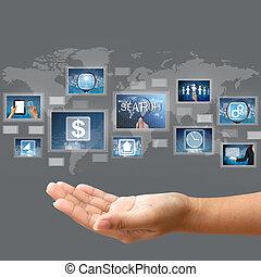 概念, ビジネス, スクリーン, 手, 感触, インターフェイス, 把握