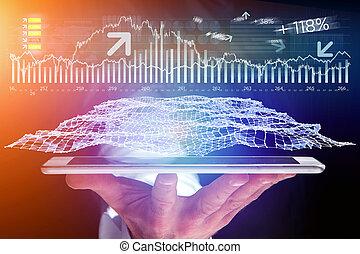 概念, ビジネス, タブレット, -, forex, 取引, インターフェイス, データ, 未来派