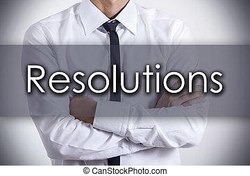 概念, ビジネス, テキスト, -, 若い, ビジネスマン, resolutions