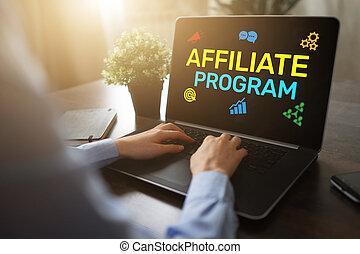 概念, ビジネス, マーケティング, screen., プログラム, affiliate, 広告