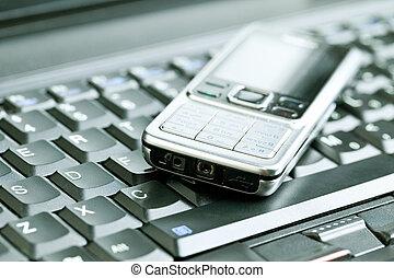 概念, ビジネス, モビール, 上に, -, 電話, キーボード, ラップトップ