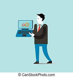 概念, ビジネス, ラップトップ, 手掛かり, イラスト, ベクトル, 人
