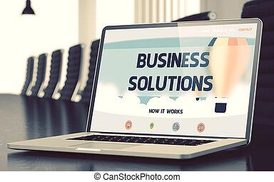 概念, ビジネス, ラップトップ, screen., 解決, 3d