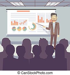 概念, ビジネス, ワークショップ, ベクトル, 会議, 訓練, プレゼンテーション, 公衆