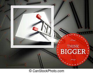 概念, ビジネス, 上, はしご, 考えなさい, より大きい