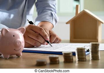 概念, ビジネス 人々, これ, 交渉, 印, 契約, 所有権, 必要性, 家, あなた, どこ(で・に)か
