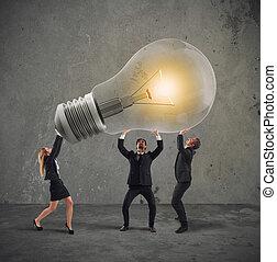 概念, ビジネス 人々, ライト, 会社, 始動, 考え, 新しい, 把握, bulb.
