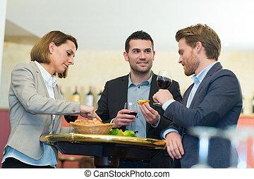 概念, ビジネス 人々, 一緒に, 昼食, 企業である, 祝福
