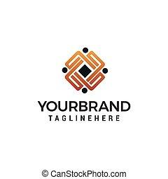 概念, ビジネス 人々, 共同体, ベクトル, デザイン, テンプレート, ロゴ