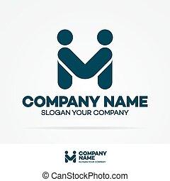 概念, ビジネス 人々, 振動, 協力, 2, テンプレート, 手, ロゴ, consisting