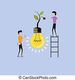 概念, ビジネス 人々, 木, 会社, &, 特徴, logotype, イラスト, 創造的, concept.vector, 産業, teamwork.business, ライト, 成長する, 電球, concept.business, 漫画, symbol.businessmen