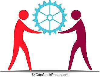 概念, ビジネス 人々, gear., 仕事, イラスト, チームワーク, 保有物