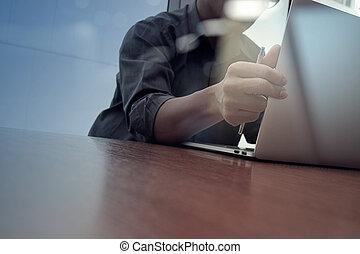 概念, ビジネス, 仕事, 木製である, 現代, ビジネスマン, 手, 電話, コンピュータ, 机, 新しい, 作戦, 痛みなさい