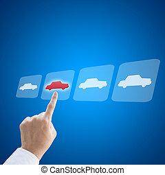 概念, ビジネス, 仕事, 自動車, 手, 新しい, 選り抜き, 人
