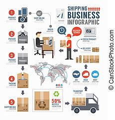 概念, ビジネス, 出荷, infographic, デザイン, テンプレート, v, 世界