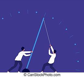 。, 概念, ビジネス, 力, 時計, urgency., 矢, ベクトル, 成長, 人, チーム, 引く, 急ぎ, 努力, 期限, 経済