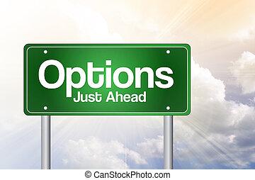 概念, ビジネス 印, 緑, オプション, 道