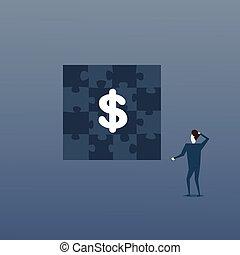 概念, ビジネス, 困惑, ドル, 解決, 印, 見る, 作戦, 人