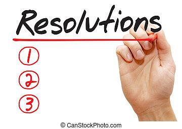 概念, ビジネス, 執筆, リスト, resolutions, 手