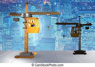 概念, ビジネス, 建設, 作動, オペレーター, クレーン