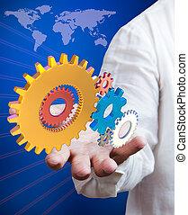 概念, ビジネス, 成功, ギヤ, 相乗作用, 保有物, 人