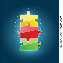 概念, ビジネス, 成功, パズル小片, セット, ベンチャー