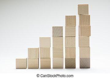 。, 概念, ビジネス, 成功, 立方体, プロセス, 積み重ね, 木, 成長, 使うこと