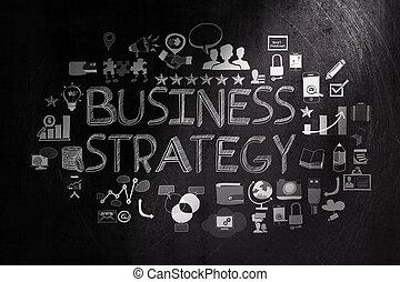 概念, ビジネス, 手ざわり, 作戦, 暗い背景, 引かれる, 手