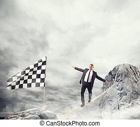 概念, ビジネス, 手を伸ばす, 問題, ロープ, 旗, ビジネスマン, 勝ちなさい