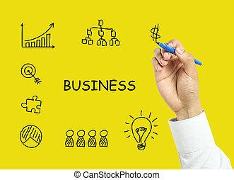 概念, ビジネス, 手, ビジネスマン, 作戦, 図画