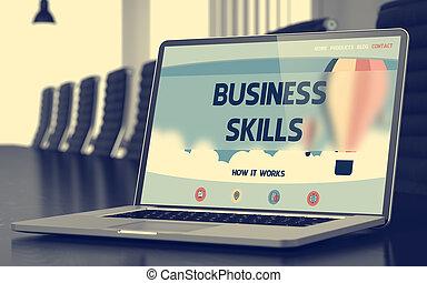 概念, ビジネス, 技能, ラップトップ, screen., 3d.