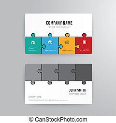 概念, ビジネス, 抽象的, ジグソーパズル, 現代, テンプレート, カード, design.