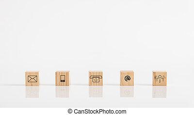概念, ビジネス, 木製である, コミュニケーション, 立方体, オンラインで, テーブル, 白