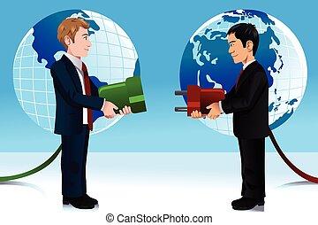 概念, ビジネス, 東, 接続, 西部, 世界