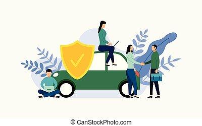 概念, ビジネス 概念, 自動車, 保護, イラスト, ベクトル, 保険