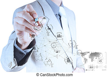 概念, ビジネス, 産業, 事実上, 手, 図, コンピュータは働く, エンジニア