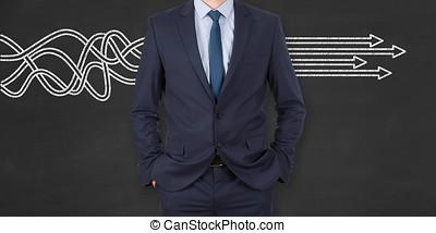 概念, ビジネス, 解決, 人, 黒板, 背景